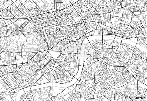 500x343 Black And White Vector City Map Of London With Well Organized