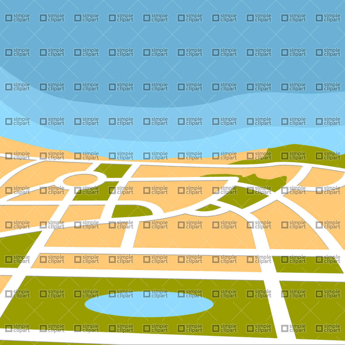 1200x1200 City Map Vector Image