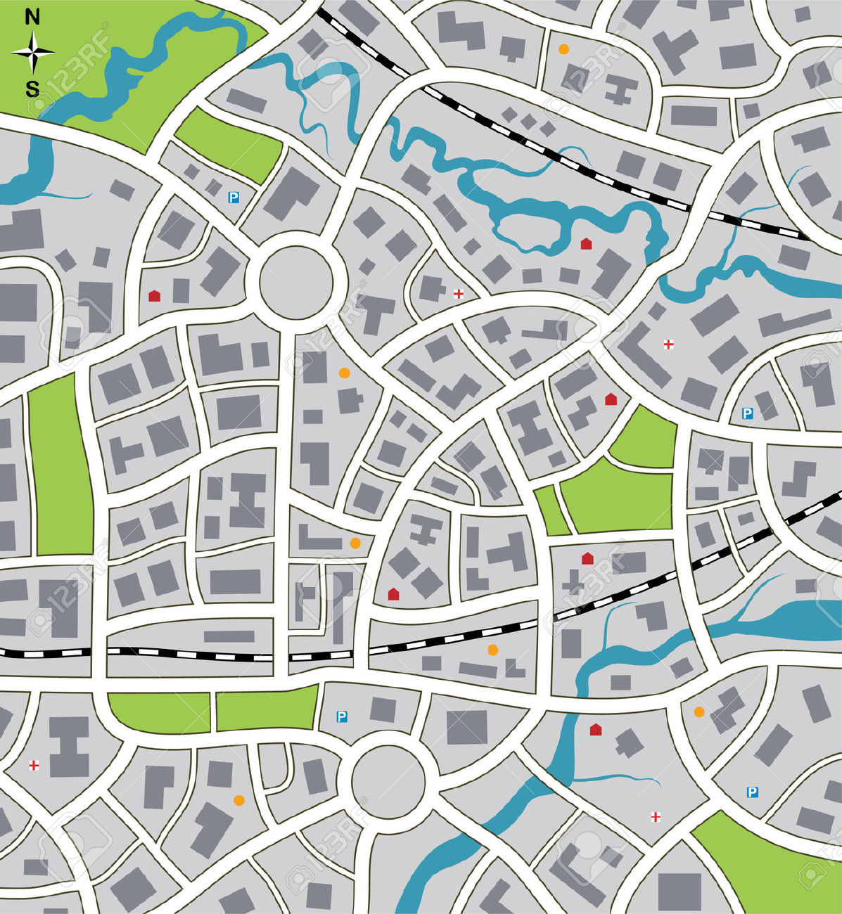 1197x1300 City Road Map Graphic Download