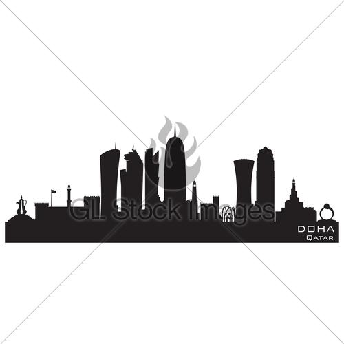 500x500 Doha Qatar City Skyline Vector Silhouette Gl Stock Images