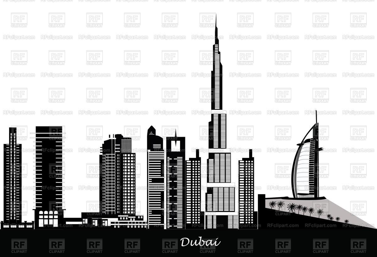 1200x819 Dubai City Skyline Vector Image Vector Artwork Of Travel