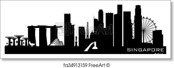 560x219 Free Art Print Of Singapore City Skyline Vector Silhouette
