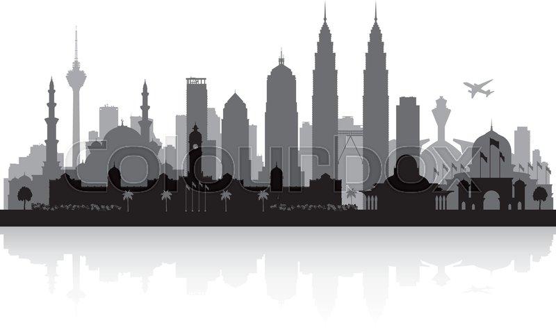 800x475 Kuala Lumpur Malaysia City Skyline Vector Silhouette Illustration