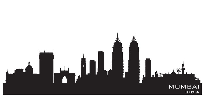 700x350 Mumbai India City Skyline Vector Silhouette Wall Mural Pixers