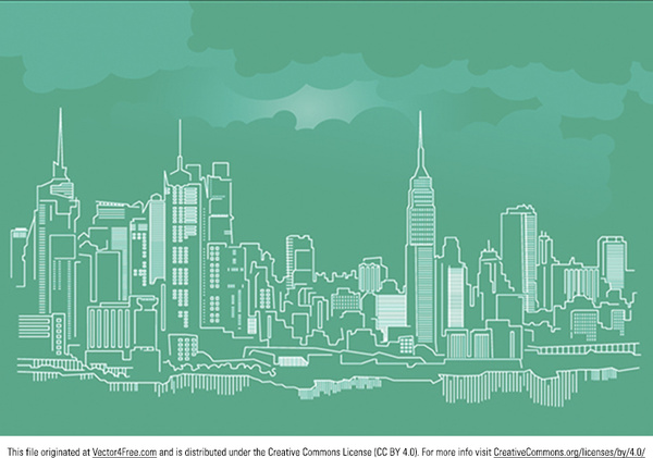 600x421 New York City Skyline Vector Free Vector In Adobe Illustrator Ai