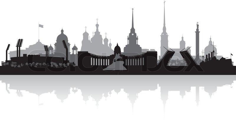 800x408 Saint Petersburg City Skyline Vector Silhouette Stock Vector