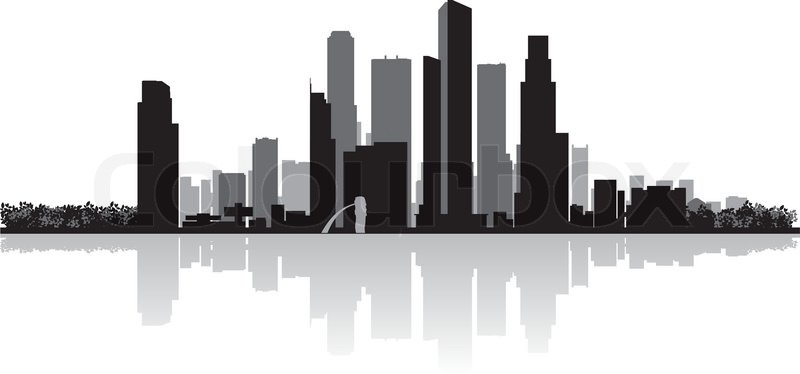 800x374 Singapore City Skyline Vector Silhouette Stock Vector Colourbox