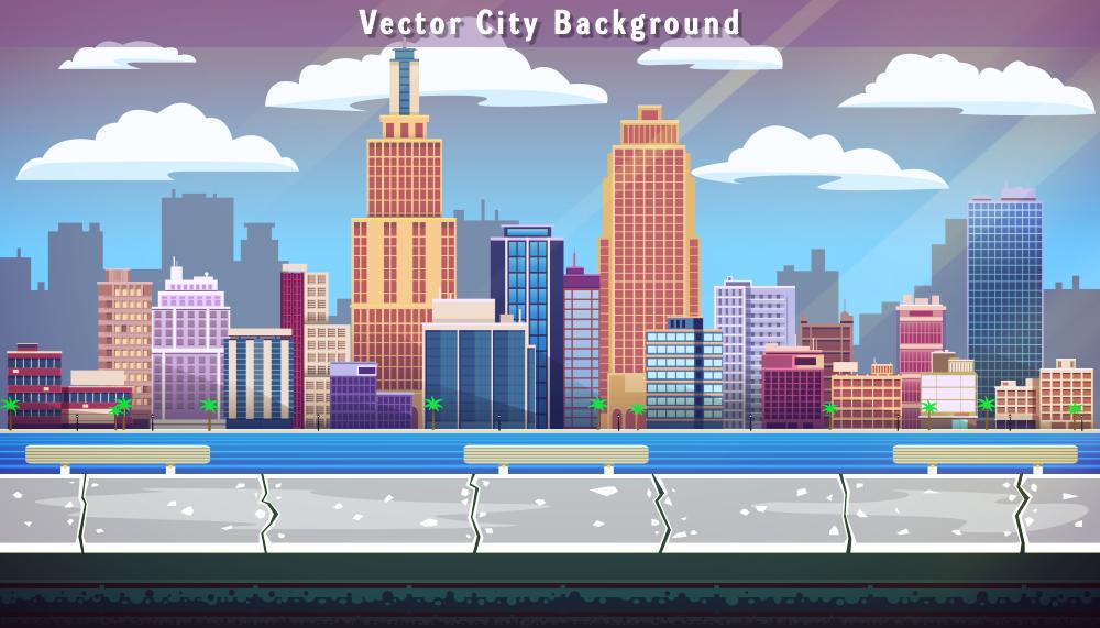 1000x571 City Vector Background
