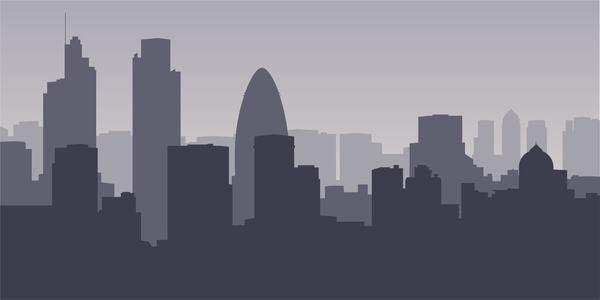600x300 London City Skyline Vector Free Download