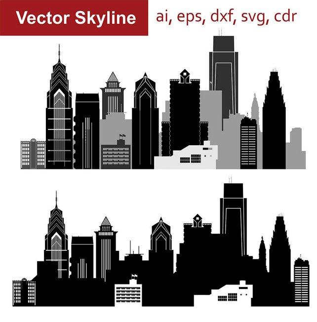 642x652 Philadelphia Skyline Svg Pennsylvania City Vector Skyline Etsy