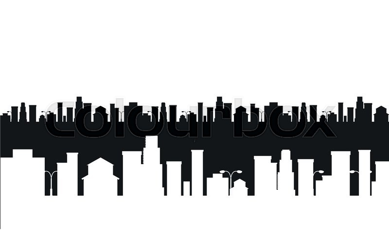 800x486 Vector Cities Silhouette. Black And White Cities Silhouette