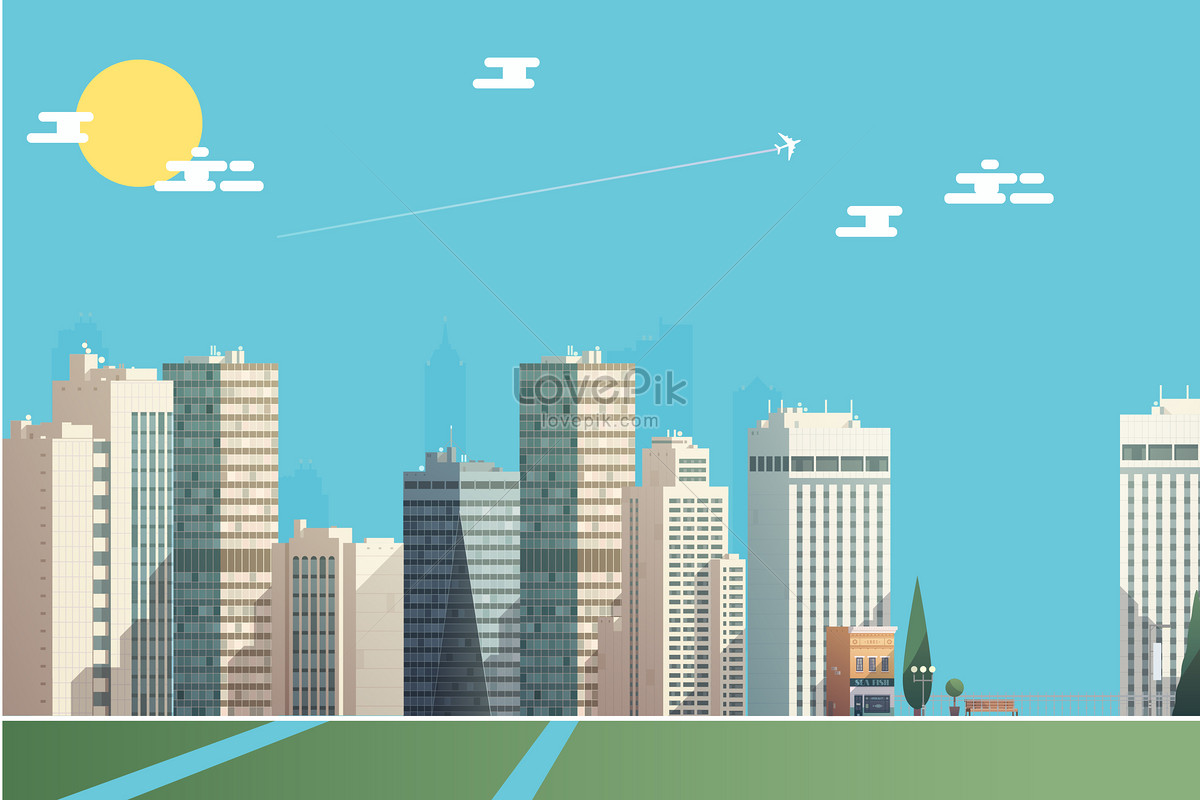 1200x800 Cartoon City Vector Building Illustration Image Picture Free