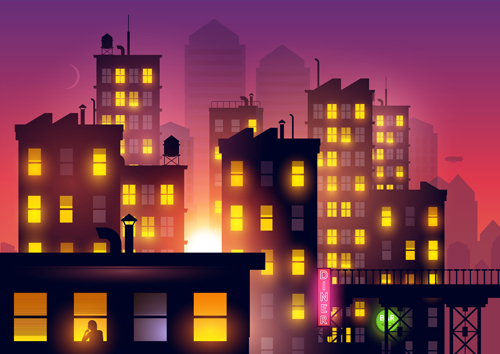 500x354 Brightly Lit Midnight City Vector Background 05 Free Download