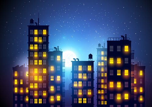 500x353 Brightly Lit Midnight City Vector Background Free Vector In