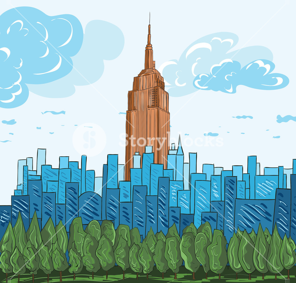 1000x956 Cartoon Background With City Vector Illustration Royalty Free