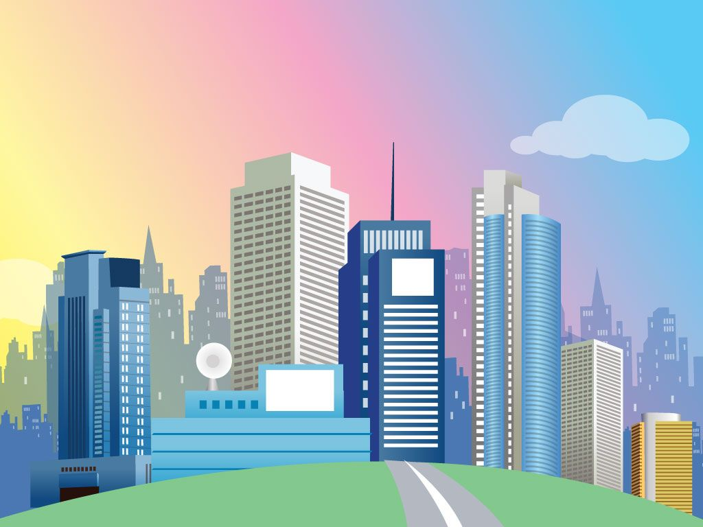 1024x768 Cities Vectors And Grid With Buildings Images Background Th