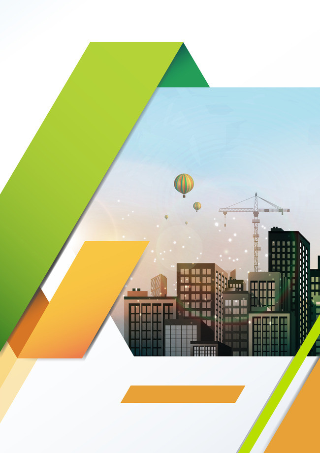 650x920 Green Atmospheric City Business Building Vector Background