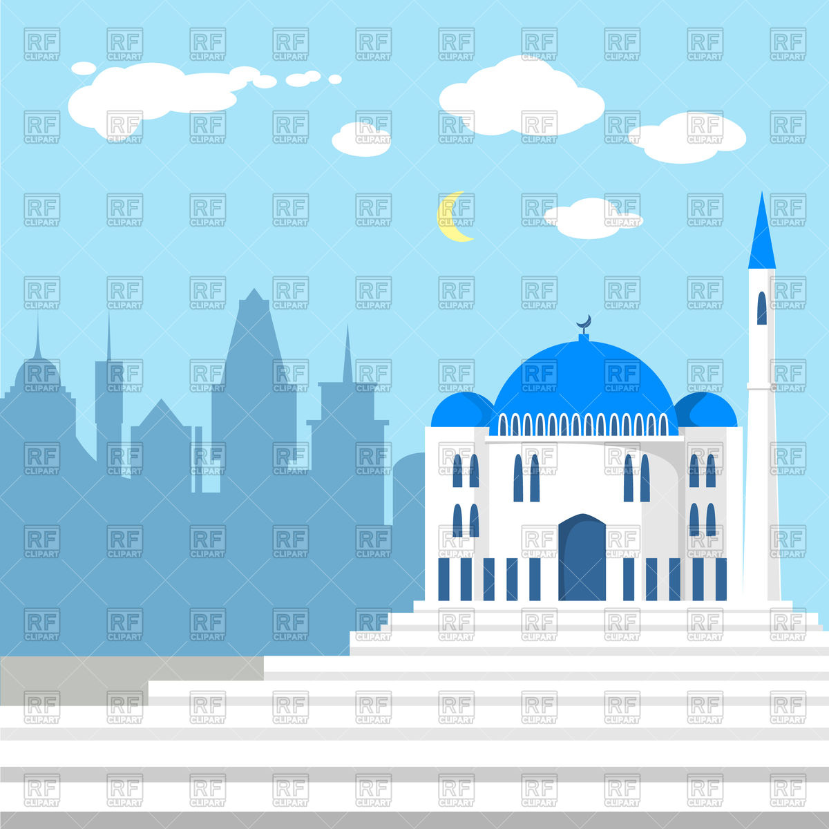 1200x1200 Mosque On The Background Of Islamic City Vector Image Vector