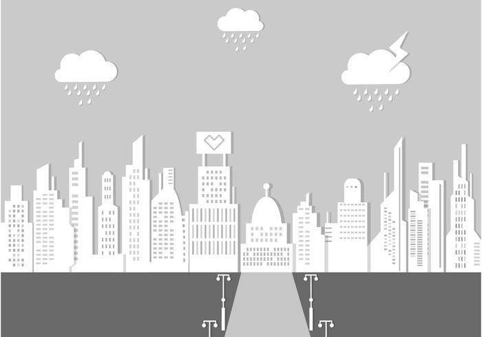 700x490 Rainy City Landscape Vector Background