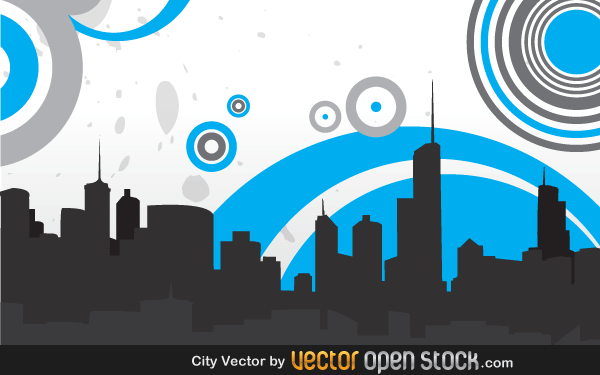 600x375 Vector City Skyline With Circles 123freevectors