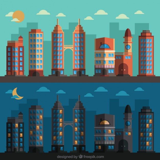 626x626 Background Of Daytime And Nighttime City Vector Free Download