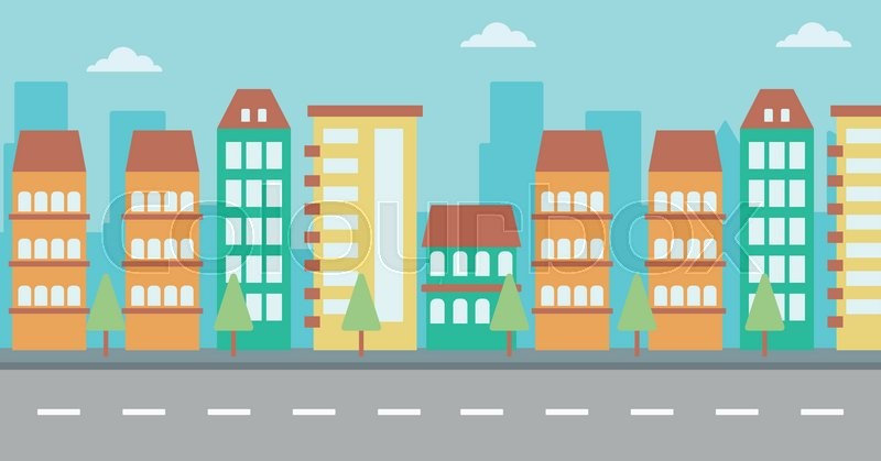 800x419 Background Of Modern City And A Road Vector Flat Design