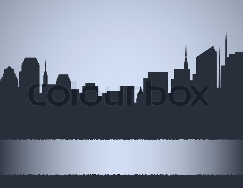 800x617 Background With City Landscape, Skyscrapers And Place For Text