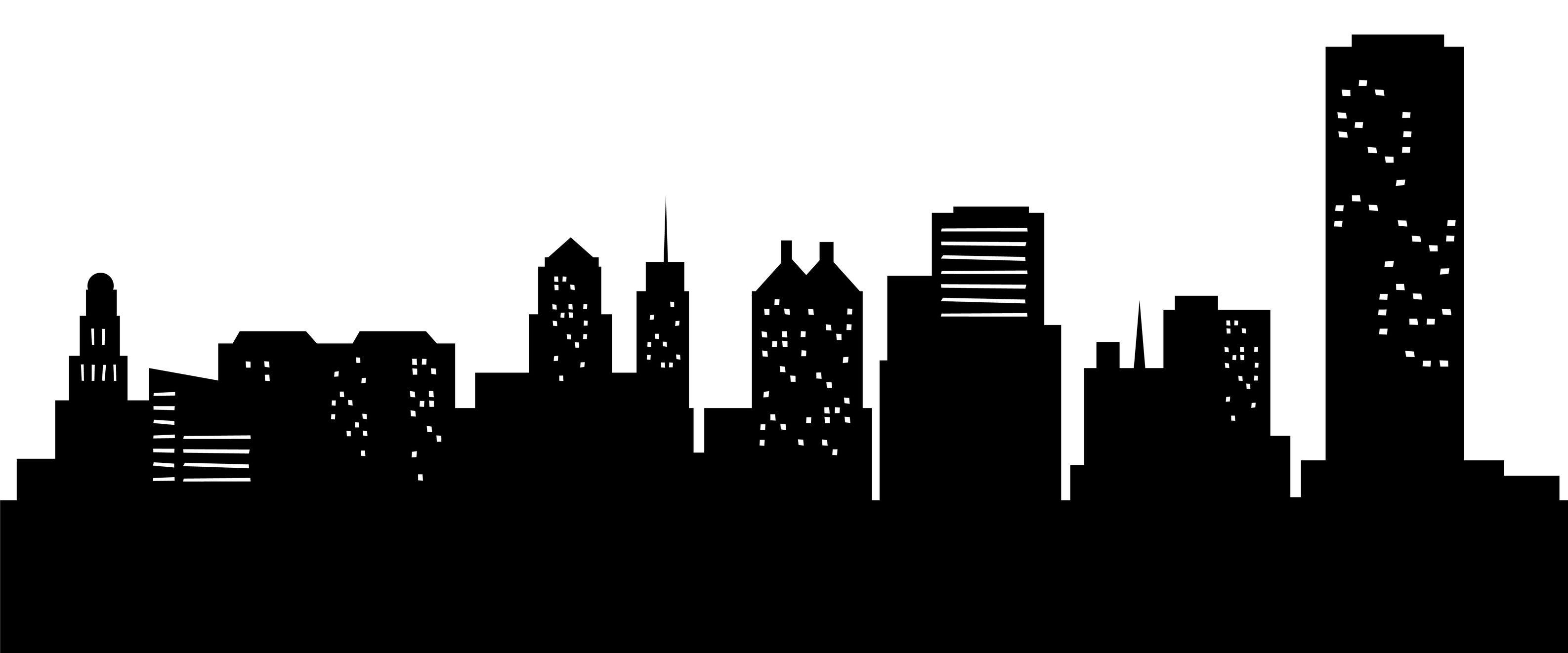 3173x1322 Cityscape Clipart Illustration