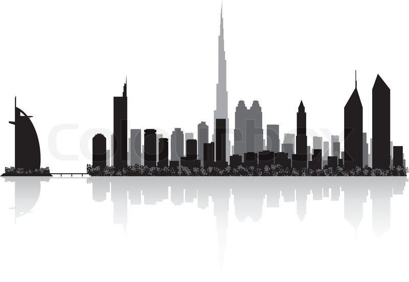 800x552 Dubai City Skyline Silhouette Vector Illustration Stock Vector