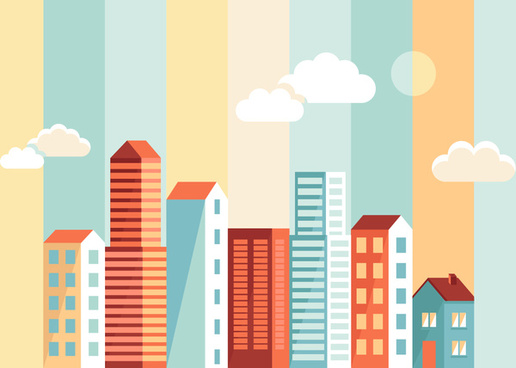 516x368 Flat City Building Vector Png Images, Backgrounds And Vectors For