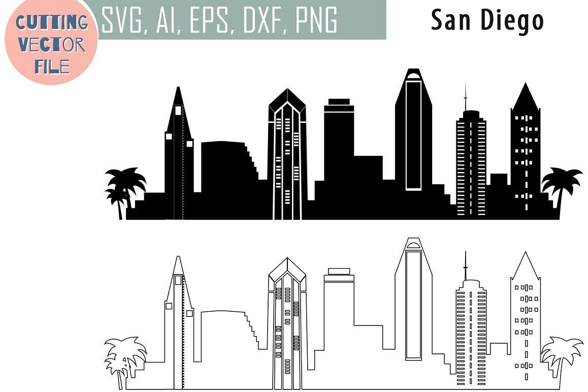 1158x772 San Diego Vector, California Skyline Usa City, Svg, Jpg, Png, Dwg