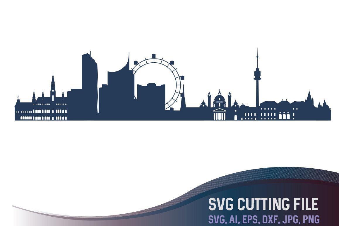 1158x772 Vienna Vector Skyline, Austria City Vector, European Capitals Svg