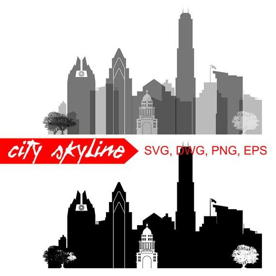 570x570 Austin Texas Svg Austin City Vector Skylineaustin Etsy