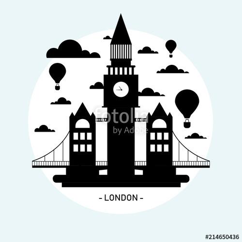 500x500 Vector Turismo Ciudad De Londres Blanco Y Negro Silueta Stock