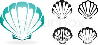 320x150 Flat Design Cartoon Seashell Icon Vector Illustration Stock