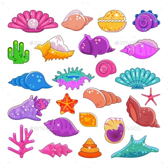 590x590 Sea Shells Vector Exotic Marine Cartoon Clam Shell By Vectoristik
