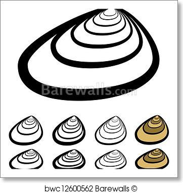 362x382 Art Print Of Vector Clam Shell Silhouettes Barewalls Posters