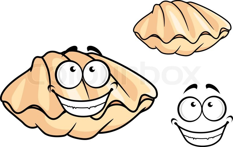 800x506 Cartoon Clam Shell Or Mussel With A Happy Toothy Smile Isolated On