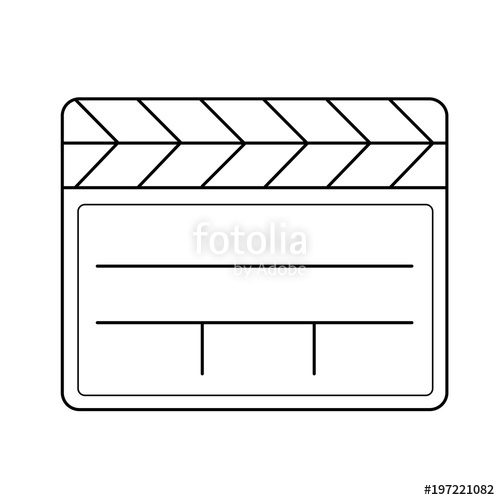 500x500 Clapboard Vector Line Icon Isolated On White Background. Clapboard