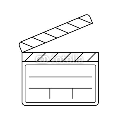 400x400 Clapboard Vector Line Icon Isolated On White Background. Clapper