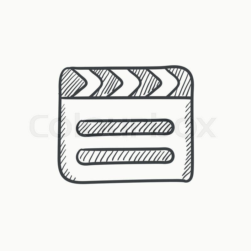 800x800 Clapboard Vector Sketch Icon Isolated On Background. Hand Drawn