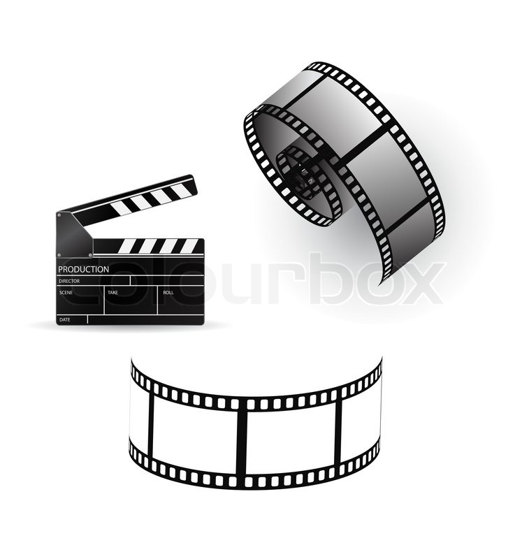 737x800 Vector Film Strip With Clapboard Stock Vector Colourbox