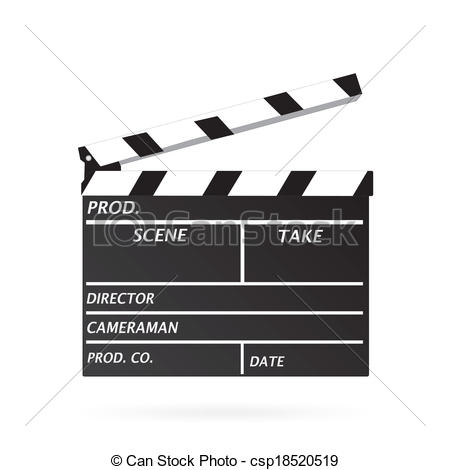 450x470 Clapper Board, Vector Illustration. Image Of A Movie Clapper Board
