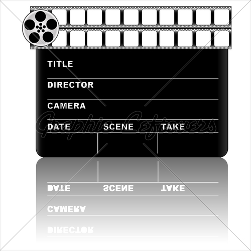 500x500 Movie Clapper Board, Vector Gl Stock Images