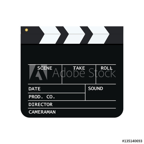 500x500 Movie Clapper Board Isolated On White Background. Mockup