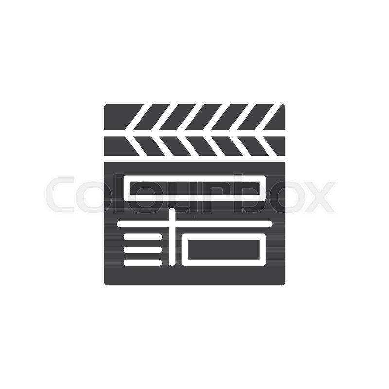 800x800 Movie Clapper Board Vector Icon. Filled Flat Sign For Mobile