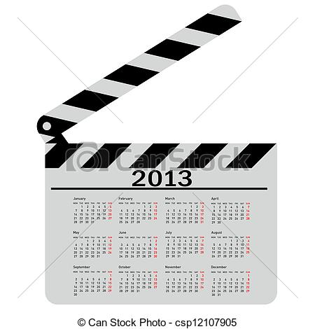 450x470 Calendar For 2013, Movie Clapper Board. Vector Illustration.