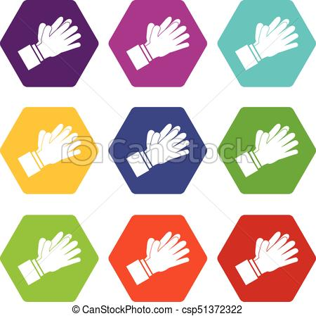 450x449 Clapping Applauding Hands Icon Set Color Hexahedron.... Vector