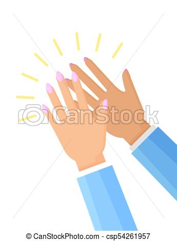 345x470 Clapping Hands Of Woman Poster Vector Illustration. Claspping