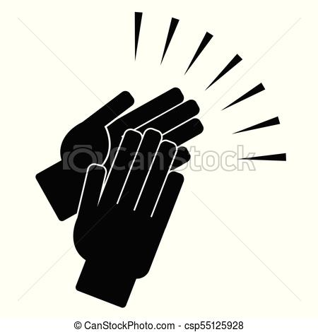 450x470 Clapping Hands On A White Background. Vector Illustration.